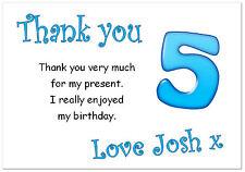 TC 10 Personalizado Sobres y tarjetas de agradecimiento, gracias Cumpleaños edad 5 Fiesta Niño