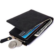 Leather Men's Bifold Money Clip Purse Pocket Wallet Zipper Photo Coin Short Bag