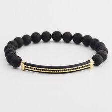 2018 Men Women Micro Pave Gold Plated Strip Beads Bracelets Lava Landscape Stone