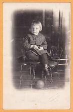 Studio Real Photo Postcard RPPC - Child w/ Ball Anderson Hankinson North Dakota