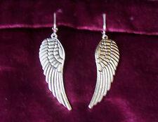 LARGE TIBETAN SILVER TONE ANGEL WING CLIP-ON EARRINGS