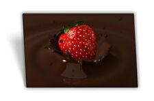 Leinwand-Bild Keilrahmen-Bild Schokolade Erdbeere Rot Braun