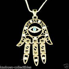 Big w Swarovski Crystal ~Jewish Hamsa Hand Hamesh Fatima Evil Eye Charm Necklace