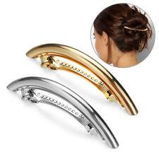 Fashion Women Metal Hairpin Gold Silver Tube Large Hair Clip Barrette Accessory