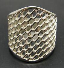 stile anello argento sterling MASSICCIO 925 A RETE FASCIA NUOVA MISURA H - V
