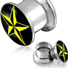 Emeco ® FLESH TUNNEL OHR Star Logo Stern Plug P-EAR767