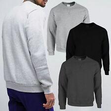New Mens Casual Long Sleeve Classic Plain Pullover Sweatshirt Jumper Sweater Top