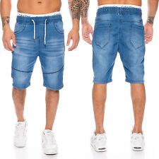 Uomo Bermuda Shorts Jeans da jogging Pantaloncini corti pantaloni della tuta blu