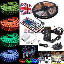 5050/3528 RGB LED Strip 12V Waterproof Kit 150/300/600 SMD Adapter + Remote UK