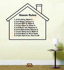 House rules Vinyl Wall Art Sticker Decal