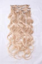 #60 weißblond GEWELLTE CLIP IN Remy Hair Extensions Echthaar Haarverlängerung