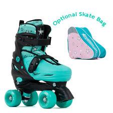 SFR Nebula Adjustable Kids Green Quad Roller Skates - Optional Skate Bag