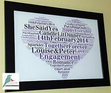 Personalised word art engagement gift keepsake unique print / print & frame