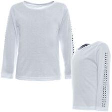 Mädchen Kinder Basic Langarm Shirt Rundhals Ausschnitt Nieten Bluse Pulli 21195