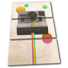 Camera Polaroid Retro Abstract Vintage TREBLE CANVAS WALL ART Picture Print