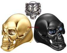 Forma de Cráneo Novedad Gótico Negro Oro Plata Metal Anillos Tamaño 8, 9, 10, 11, 12