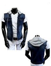 Mens Denim ( Jean ) Stretch Slim Fit Vest with Removable Hood
