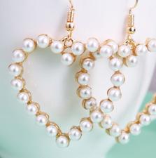 Elegant  Women Lady Elegant heart shapedPearl Rhinestone Ear Stud Earring