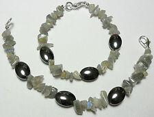 "Labradorite + Hematite beaded bracelet - 7"" or 7.5"""