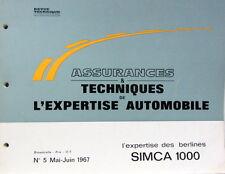 1967-5 SIMCA 1000 CATALOGUE DE PIECES AUTO EXPERTISE POUR ASSURANCES