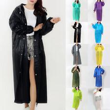 Women Men PVC Long Midi Rainwear Raincoat Hooded Waterproof Poncho Jacket Coat