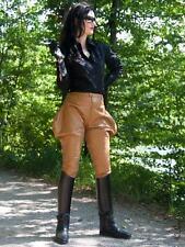 Lederhose Leder Hose Camel Zipper Breeches Größe 32 - 58 XS - XXXL