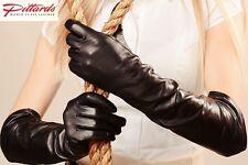 Schwarz Leder Lang Handschuhe NEU!