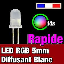 723D# LED 5mm RGB à variation automatique rapide blanc diffusant -  RGB fast