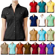 NE PEOPLE Women Short Sleeve Western Button Down Collared Pocket Shirt-NEWT16