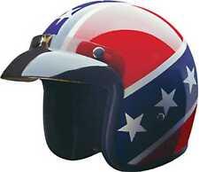 HCI Rebel Open Face Helmet w/ Visor USA Pride Red White & Blue 10-015