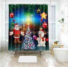 3D Christmas Snowman 902 Shower Curtain Waterproof Fiber Bathroom Windows Toile