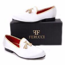 FERUCCI white custom-made Velvet Slippers loafers with gold tassel