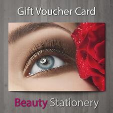 Gift Voucher Beauty Salon Blank Card Eyelash Extension Lash Lift A7 + Envelopes