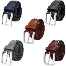 Falari® Men Braided Belt Stainless Steel Buckle Genuine Leather 35mm 9007