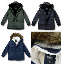 NWT Hollister by Abercrombie&Fitch Men's Faux-Fur-Lined Parka Jacket Coat
