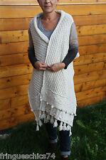 chaleco chal lana blanco invierno MC PLANET etiqueta GAMA SUPERIOR VALORADA EN