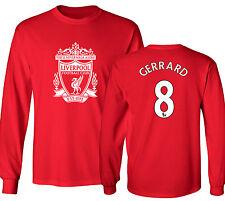 Liverpool F.C. Shirt Steven Gerrard #8 Jersey Long Sleeve Men & Youth Tshirt