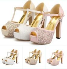 Women's Block High Heel Peep Toe Shoes Platform Ankle Strap Sandals Plus Size