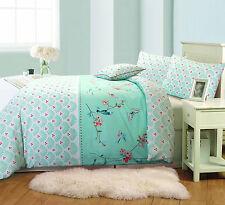 Sophie Birds Floral 100% Cotton Quilt Duvet Cover Reversible Bedding Set