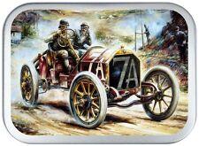 VINTAGE CAR NO 7 SILVER HINGED 2oz TOBACCO TIN,CIGARETTE TIN,150 ML PILL TIN