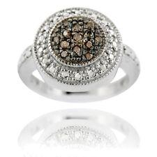 925 Silver 1/6ct Champagne Diamond Round Ring