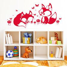 10577 Wandtattoo Loft Wandaufkleber Zwei Füchse Schmetterling Pilz  Kinderzimmer