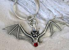 GOTHIC BAT VAMPIRE RED CRYSTAL Pewter KEYCHAIN Key Ring