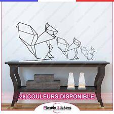 Stickers Ecureuil Origami famille - Autocollant déco muraux animaux rf1 écureuil