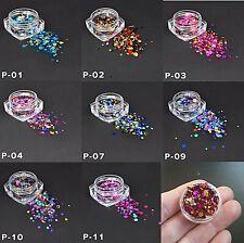 Nail Art Round Dot Sequin Glitters Nail Glitter Manicure Decoration, UK Seller
