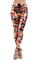 Women's Ladies Metallic Liquid Multicolour Camouflage Print Leggings