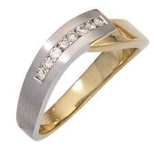 Anillo De Dama con 8 Diamantes Brillantes, Oro 585 Blanco Amarillo bicolor