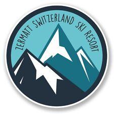 2 x Zermatt Switzerland Ski Snowboard Resort Vinyl Sticker Travel  #6438