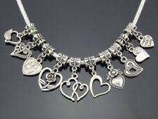 Tibetan Silver Mix Heart Dangle Charms Fit European Bracelet Jewelry DIY ZY017