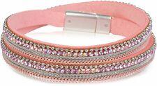 Wickelarmband mit Strass, Gliederkette Kügelchen, Magnetverschluss Armband Damen